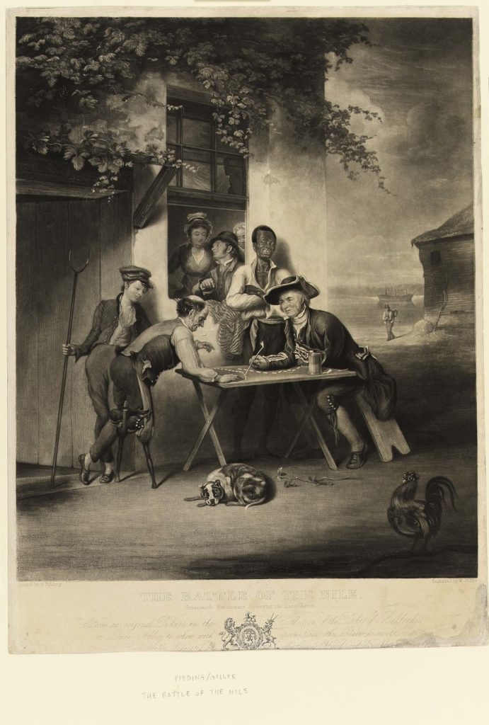 a mezzotint of sailirs outside a tavern moving markers on a table