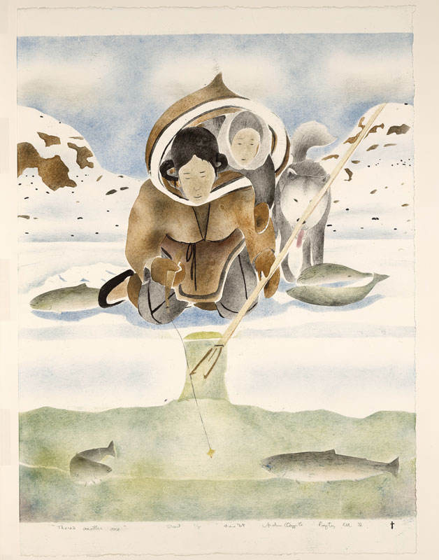 illustration of two Inuit peoples and husky ice fishing