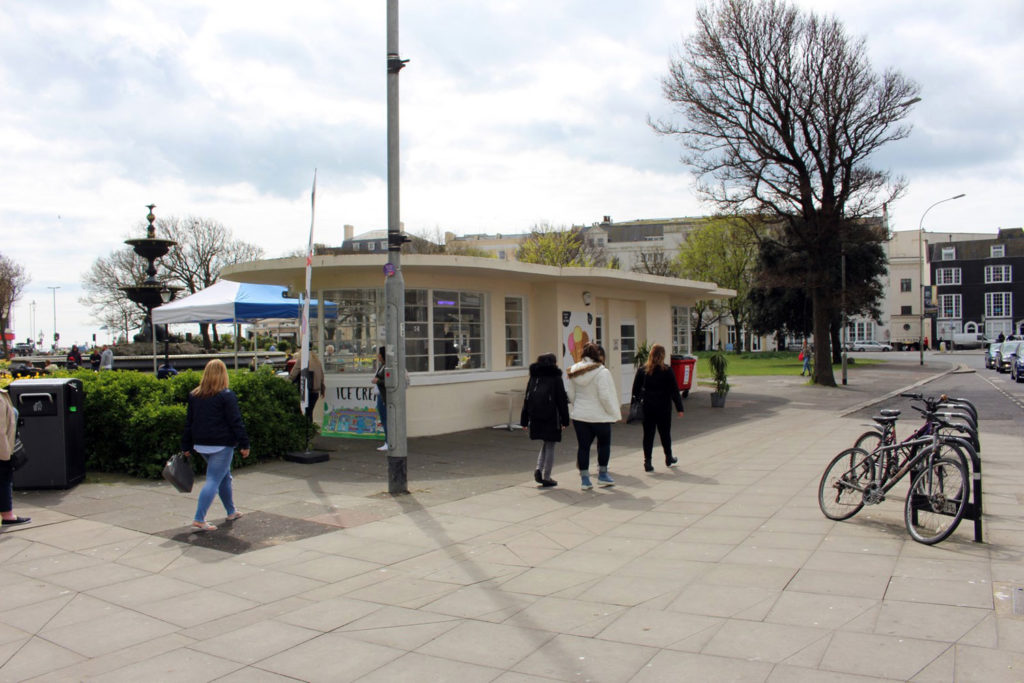 Art deco public toilet and tram shelter converted into ice cream hut