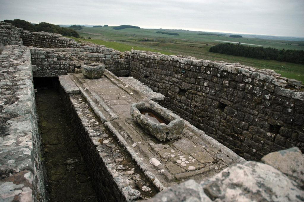 ruins of Roman army latrines at Hadrian's Wall