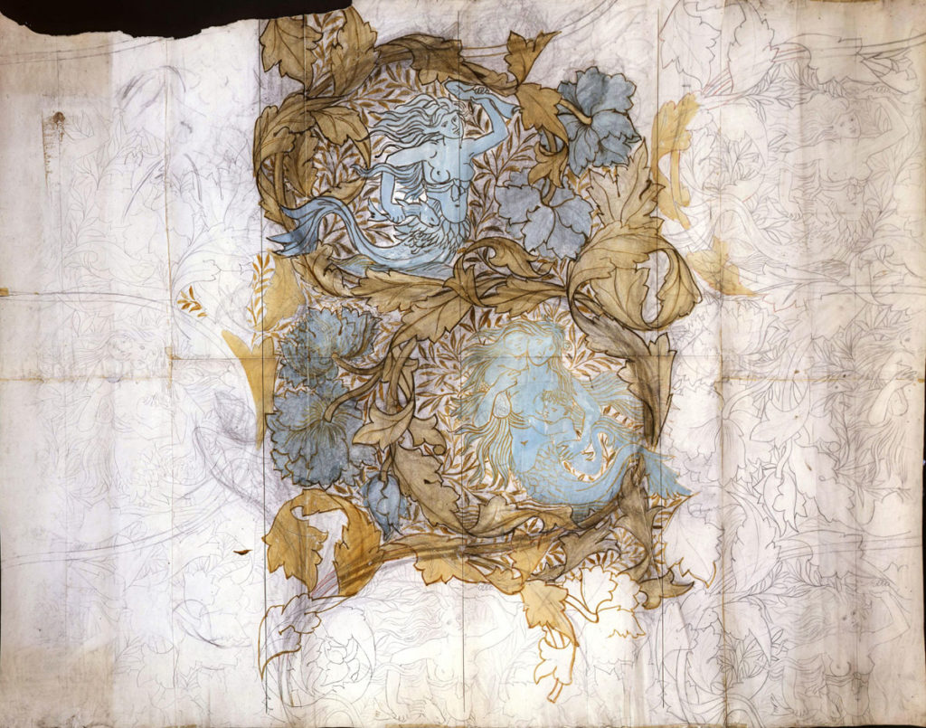 unfinished William Morris drawing of mermaids