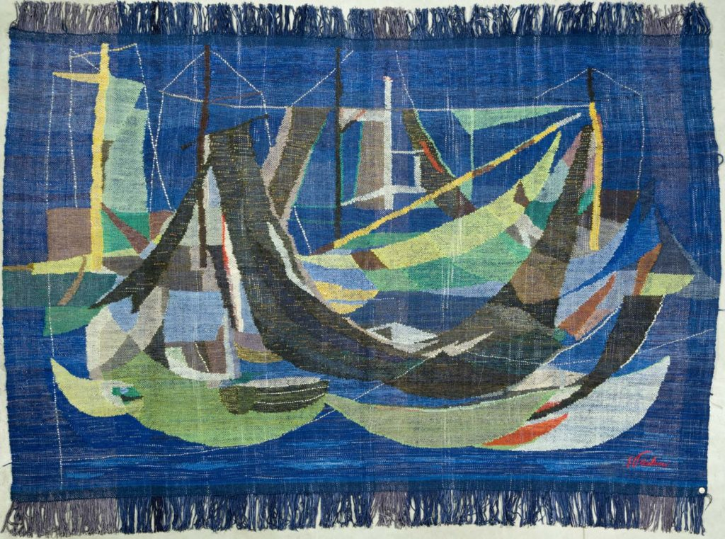 mid century tapestry in green and blue of gondolas