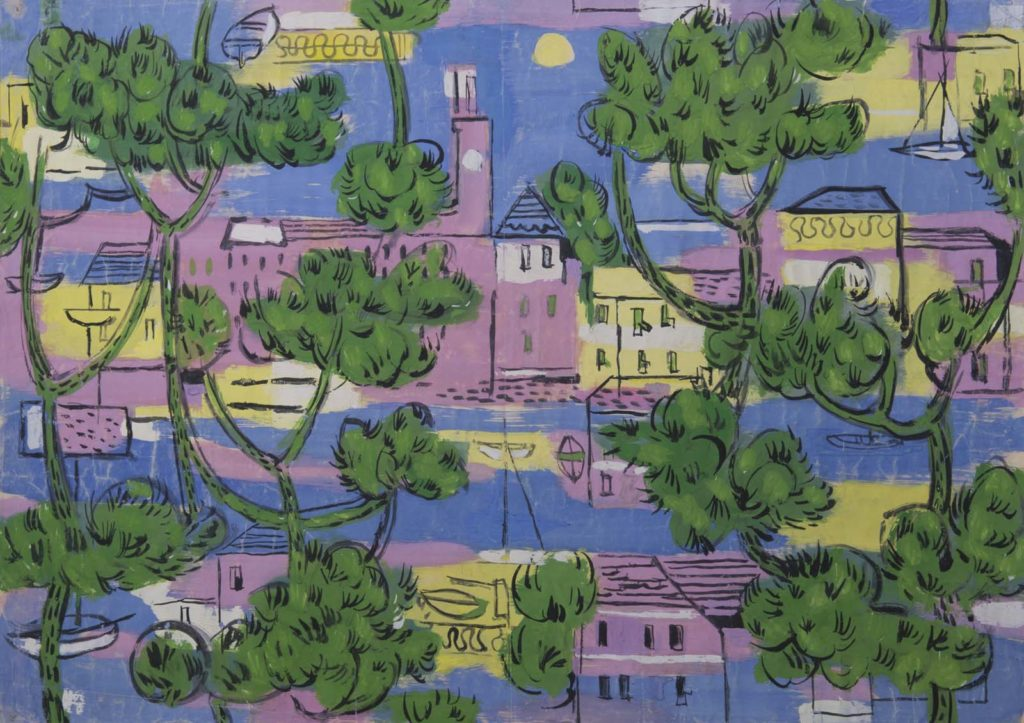 colourful print design with a townscape seen through trees