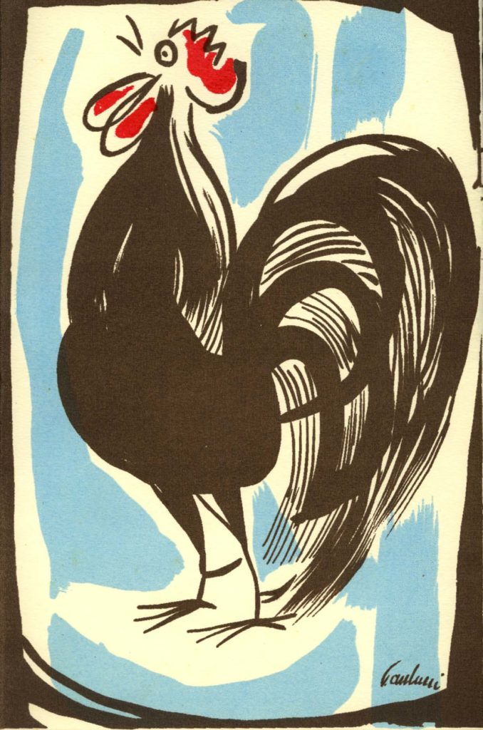 lithographic print of a cockrel