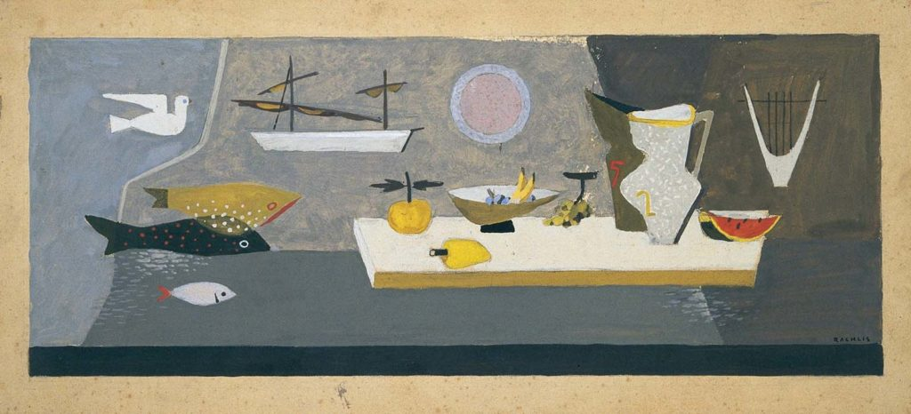 textile artwork showing ships at harbour