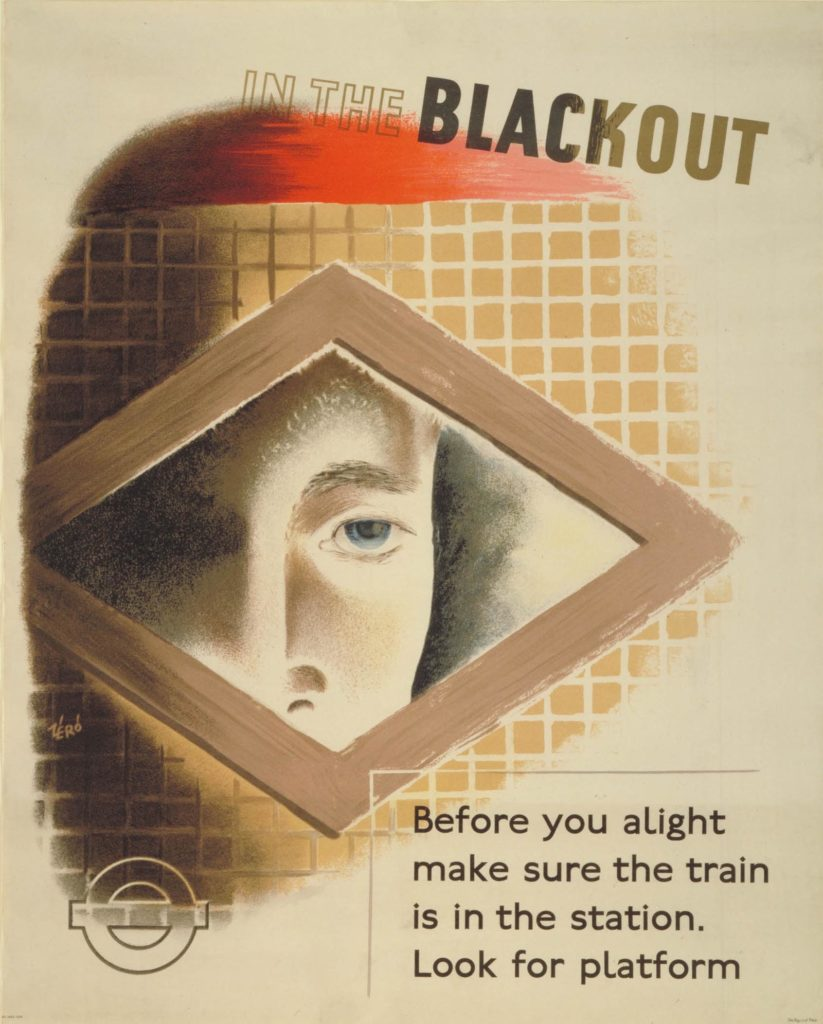 blackout poster with a face peering through a triangle