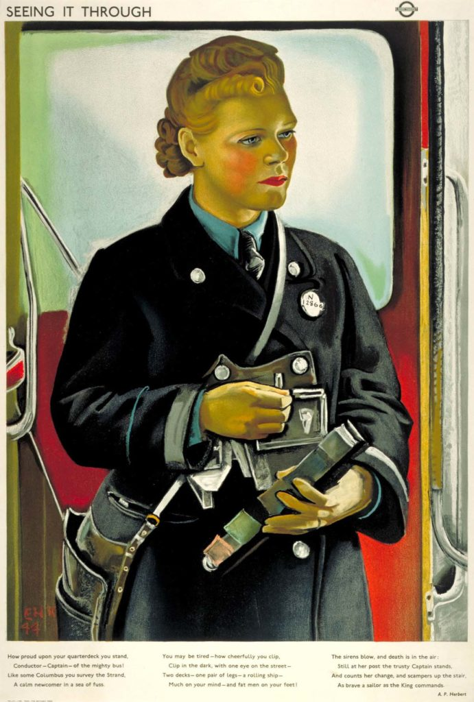poster featuring a female clippie - or bus ticket collector