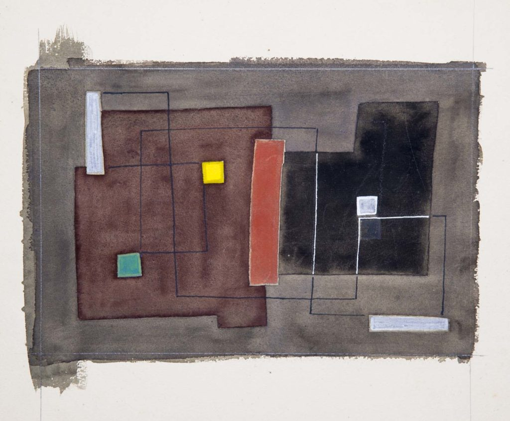 an abstract painting of block forms against a brown background