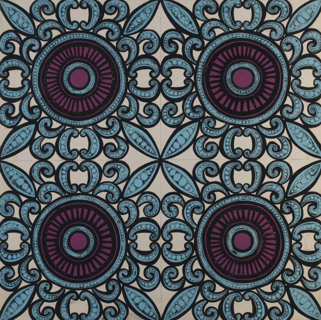 a design for a textile on a board