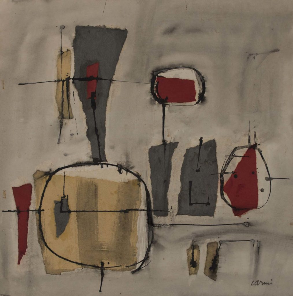 abstract sketch of coloured shapes against a cream background