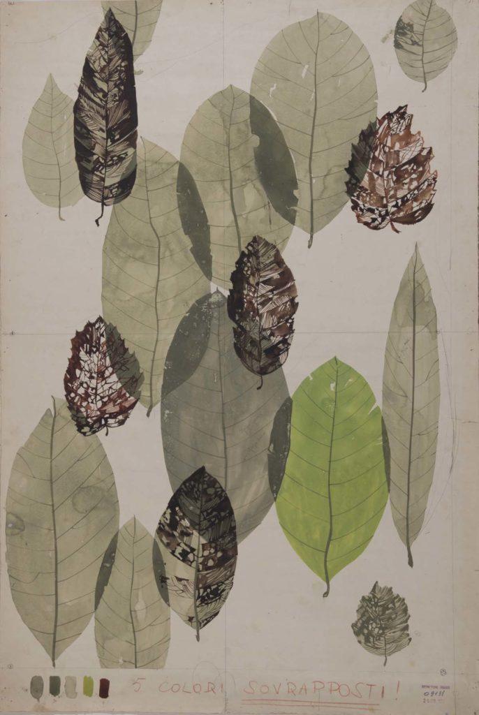 mid century overlapping leaf design on card