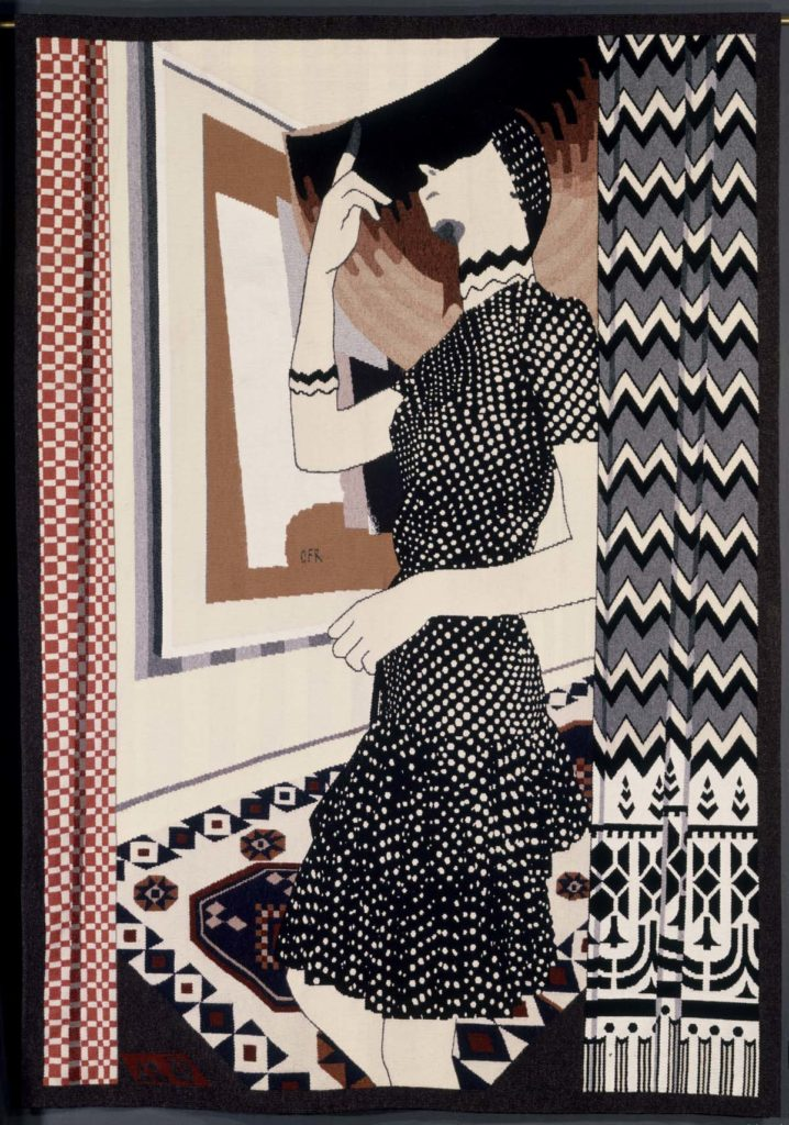 tapestry of a woman looking out of a window
