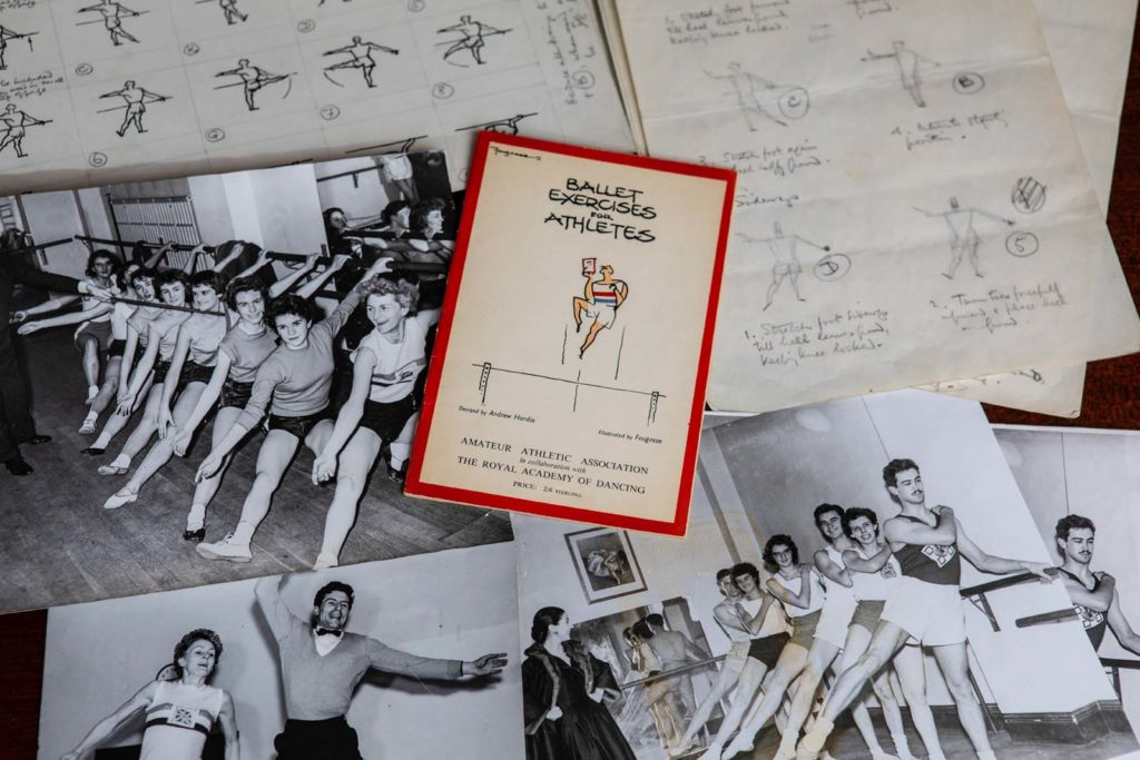 photo of pamplet together with photos of athletes going through the paces in a dance studio