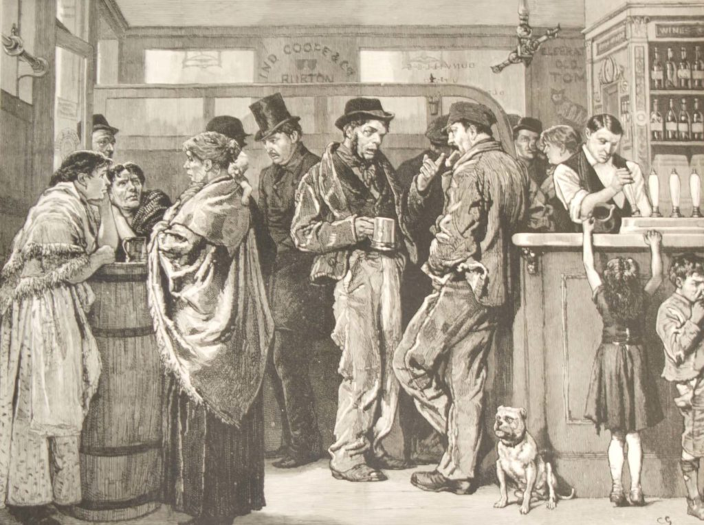 an etcing showing men women and children in a Victorian gin bar