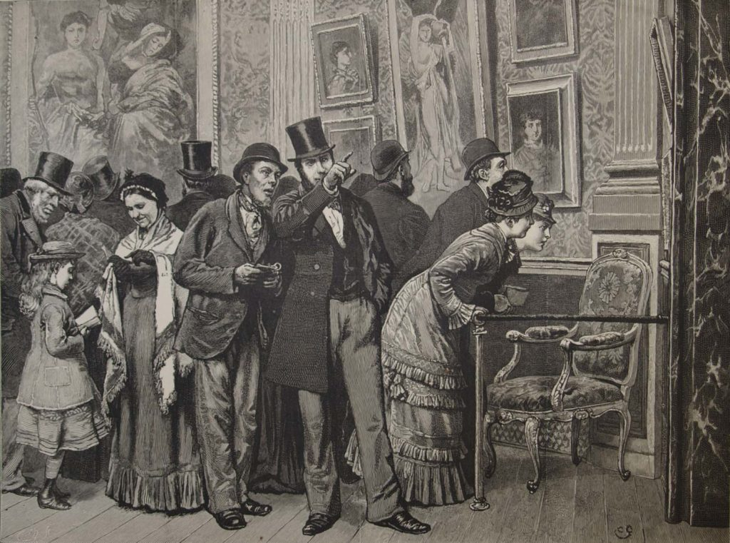 an etching showing Victorian people in a gallery