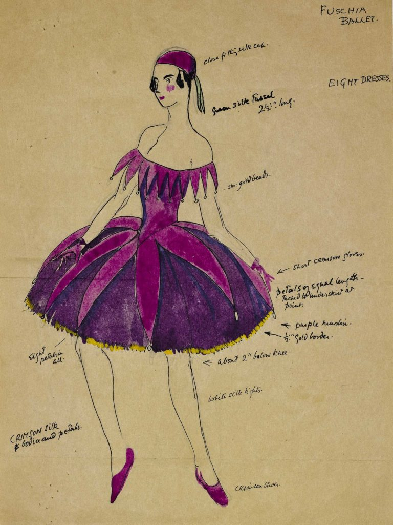 costume sketch of a woman in a purple short bustled dress