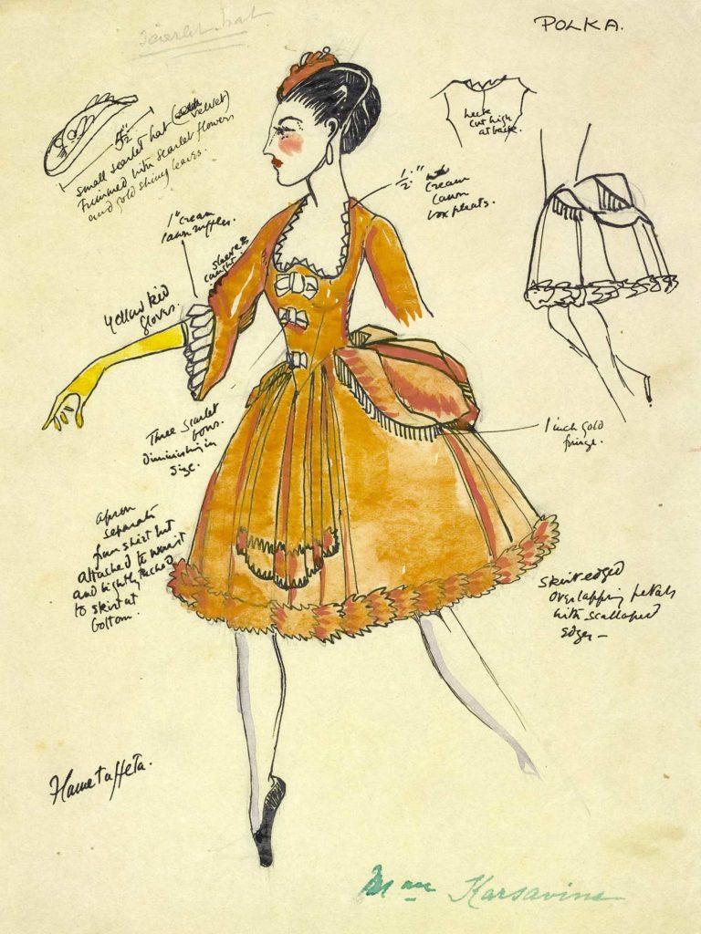 design sketch for a peach coloured dress