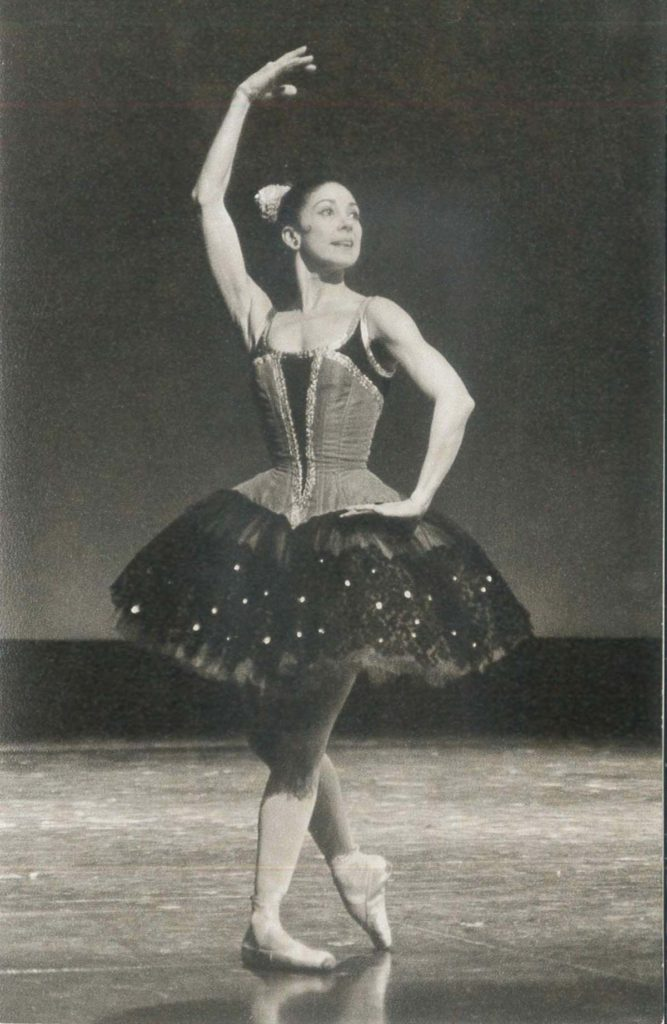 black and white photo of a ballerina