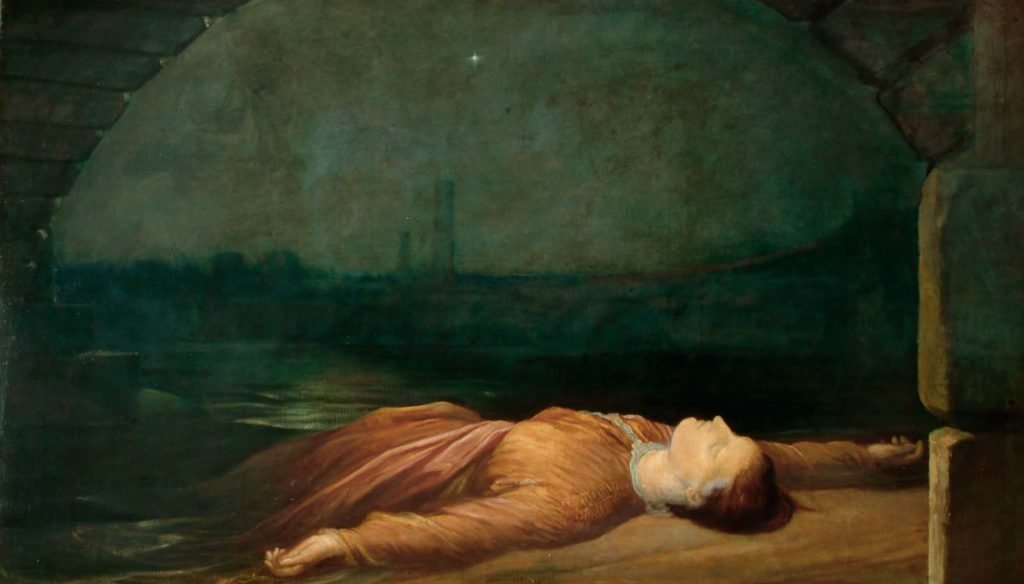oil painting of a prone drowned woman on a towpath