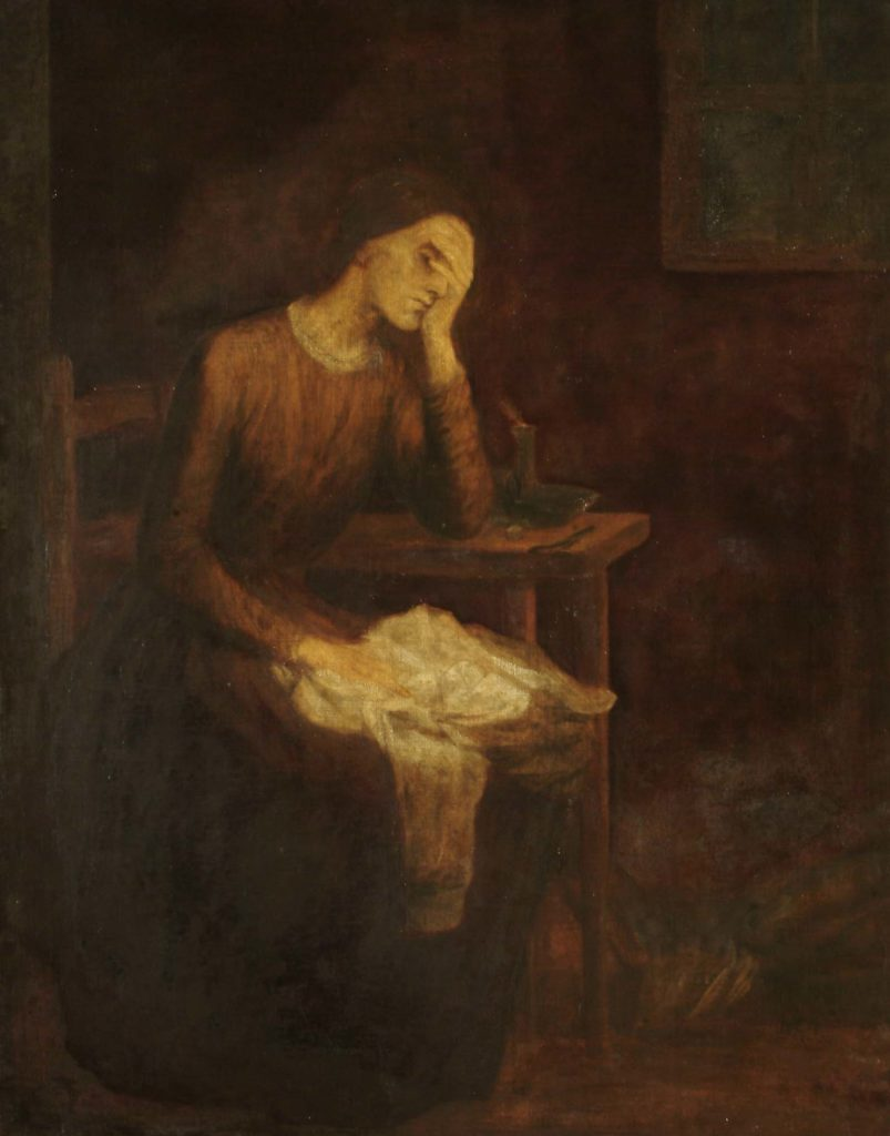 painting of woman holding her head in sorrow as she tailors a shirt