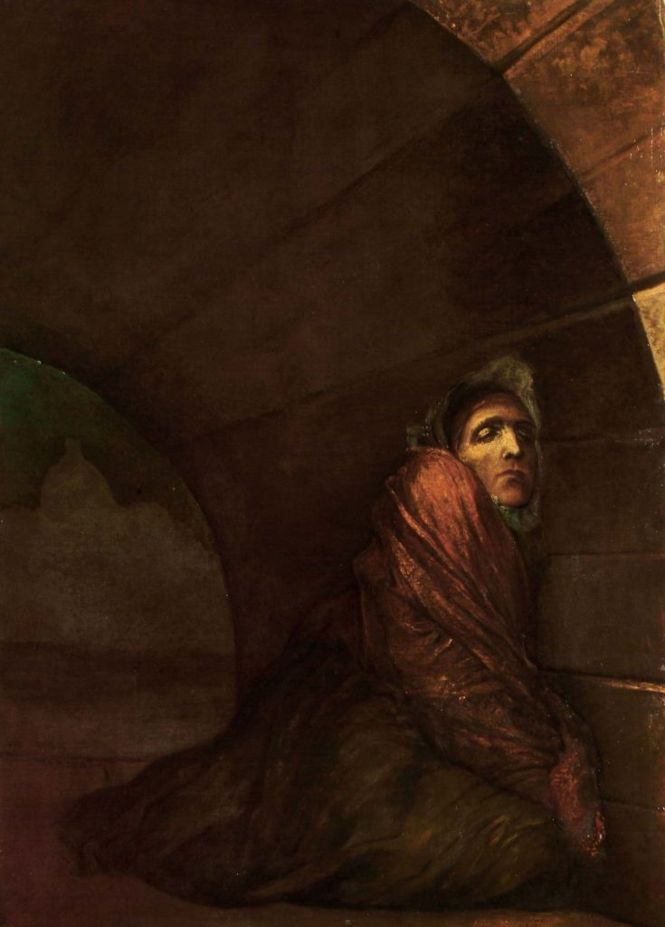 oil painting of a hunched figure beneath an archway
