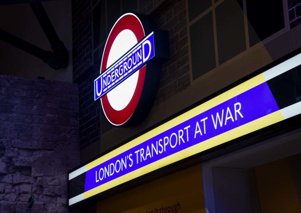 Illuminated Underground sign and London's Transport At War