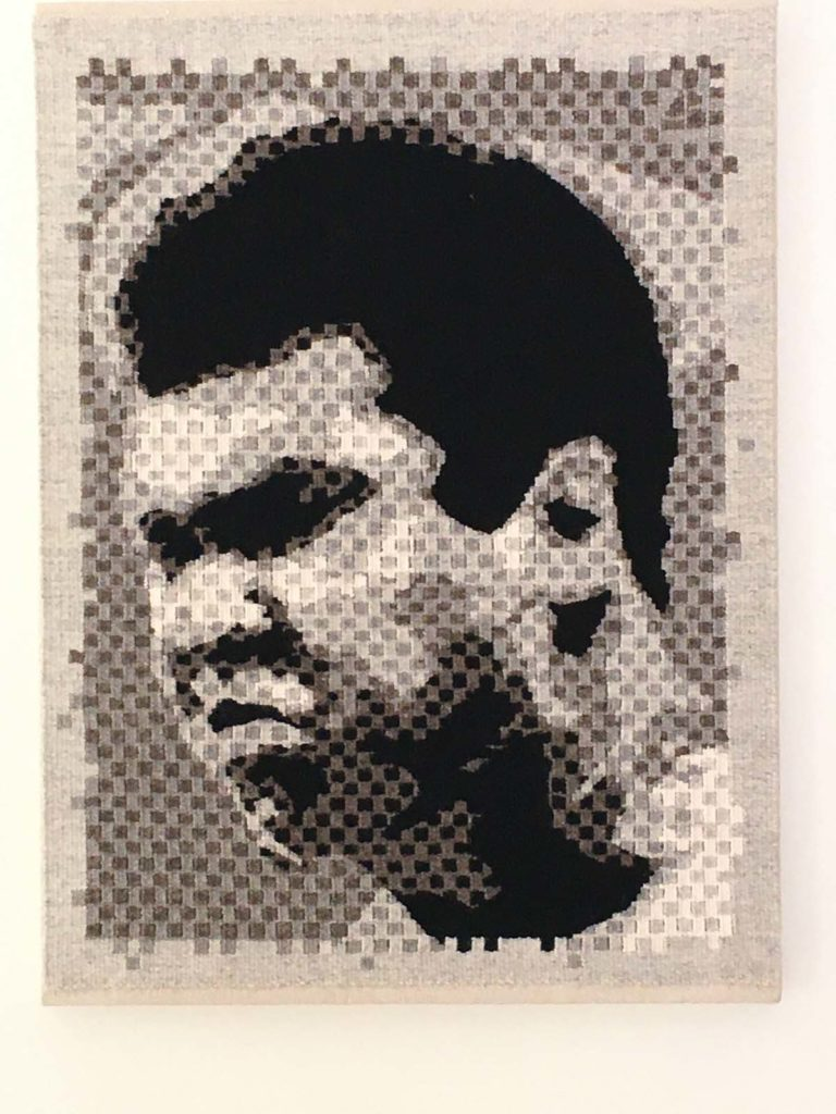 black and woven artwork of Muhamad Ali