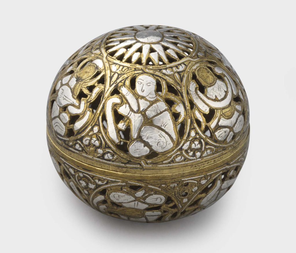 an egraved brass sphere inlaid with silver figures