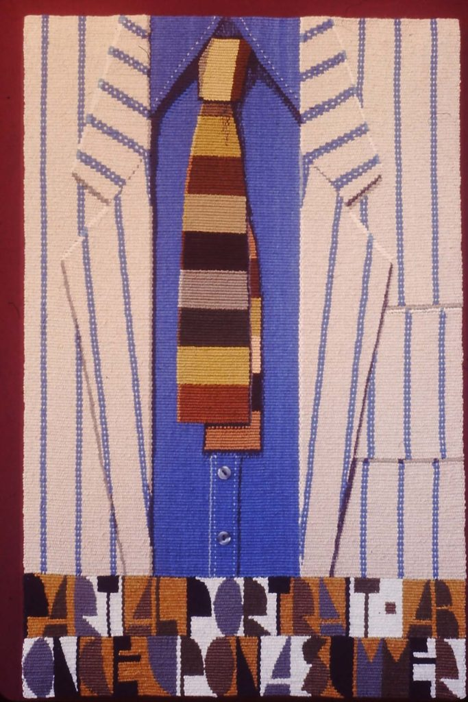 tapestry of a mid-rif shirt, tie and jacket