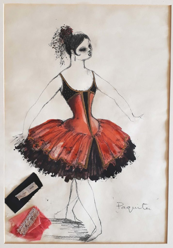 costume design sketch for a red and black fringed tutu
