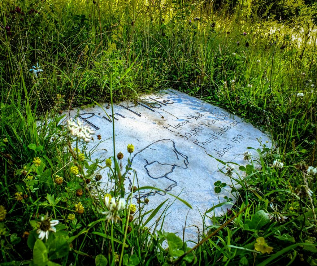 a limestone slab sign in the grass