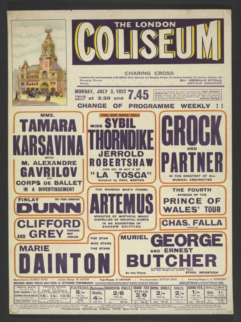 a listing poster for the London Coliseum