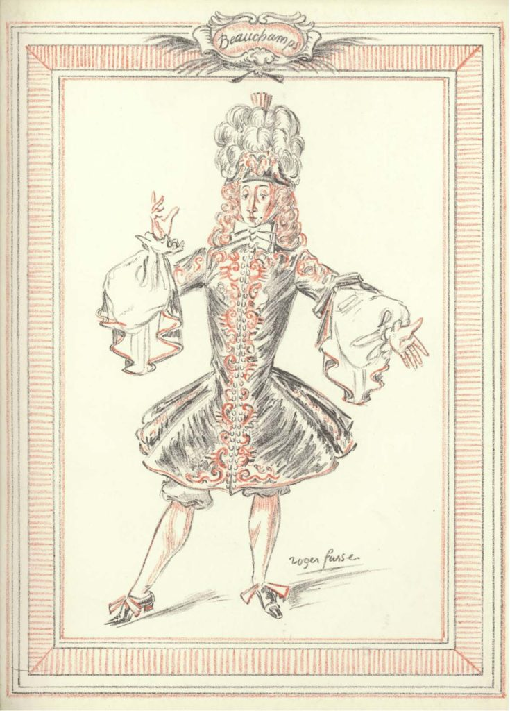 a drawing a male dancer in baroque seventeenth century style coat with frills
