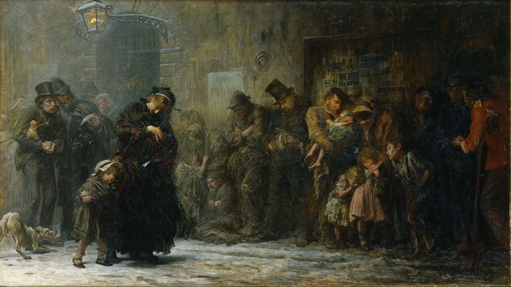 painting depicting a line of Victorian people queueing in misery beneath a bridge