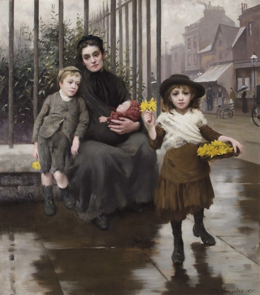 panting of woman with a little boy and girl who is selling posies