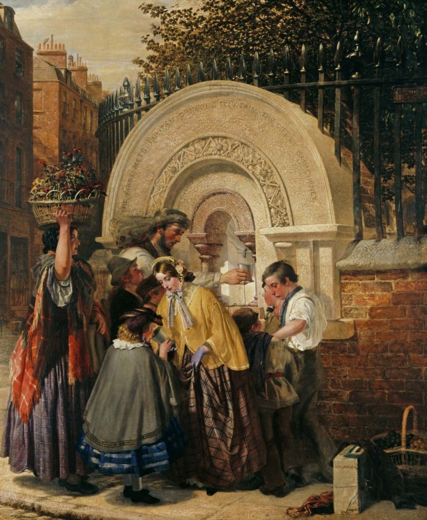 Oil on canvas genre scene depicting a group of people gathered around the first public drinking fountain in London, signed by W.A. Atkinson and dated 1859-1860.