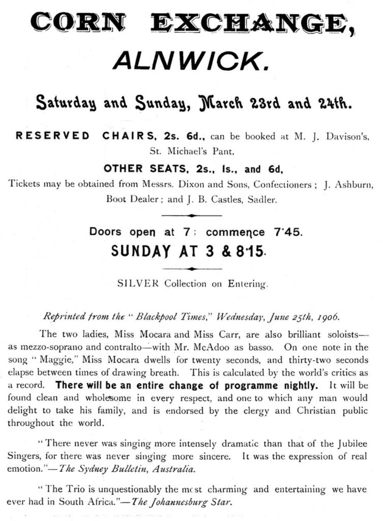 playbill flyer for two performances in Alnwick for the Jubilee singers