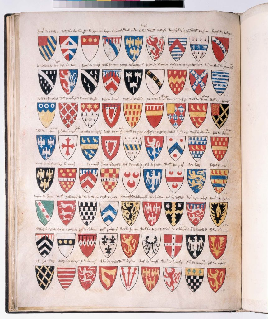 a page of a book filled with shield coats of arms