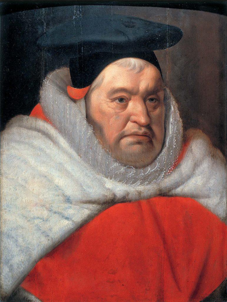 painted Tudor portriat of elderyl man in black hat and ermine cloak
