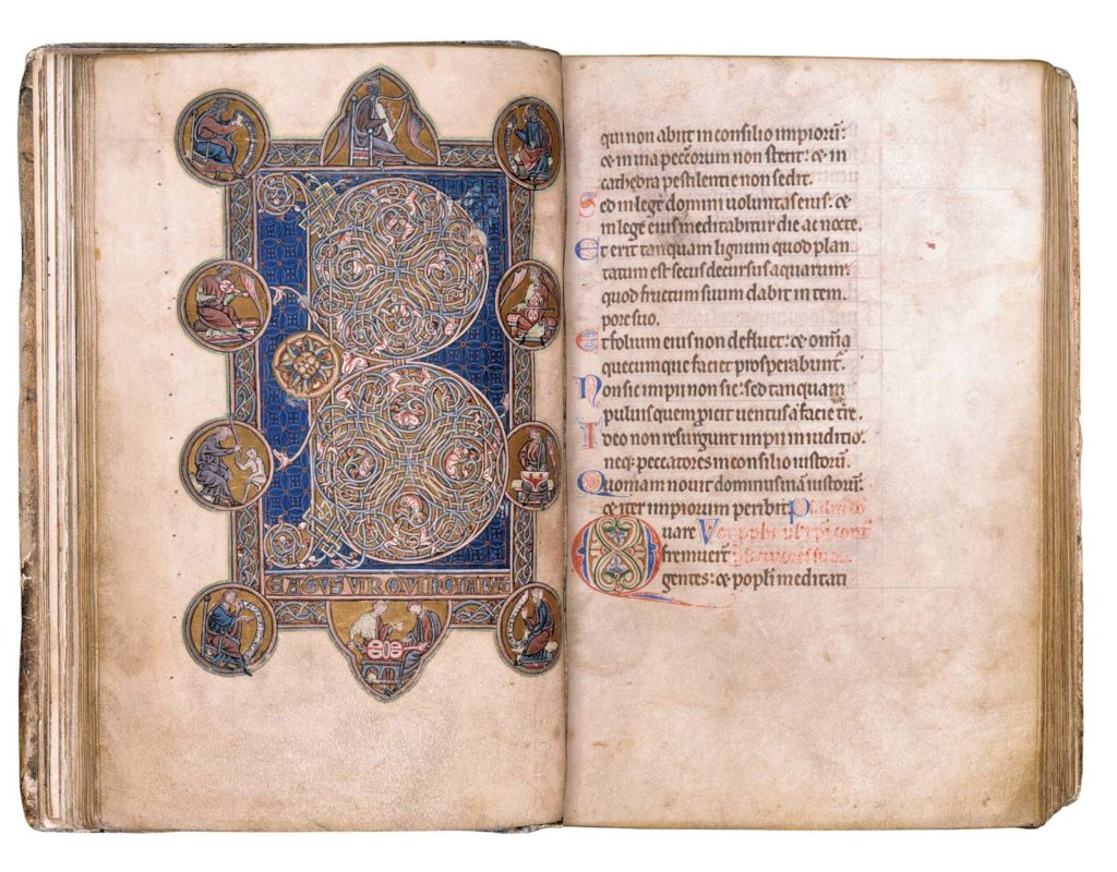 open double page view of a medieval illuminated manuscript