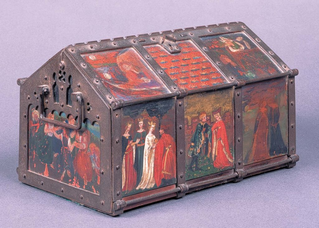 a house shaped metal box painted with medieval figures in the pre-Raphaelite style