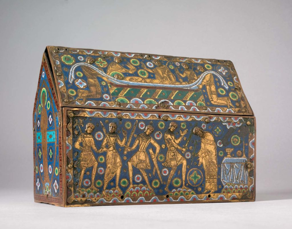 photo of a decorated casket with medieval motifs and figures