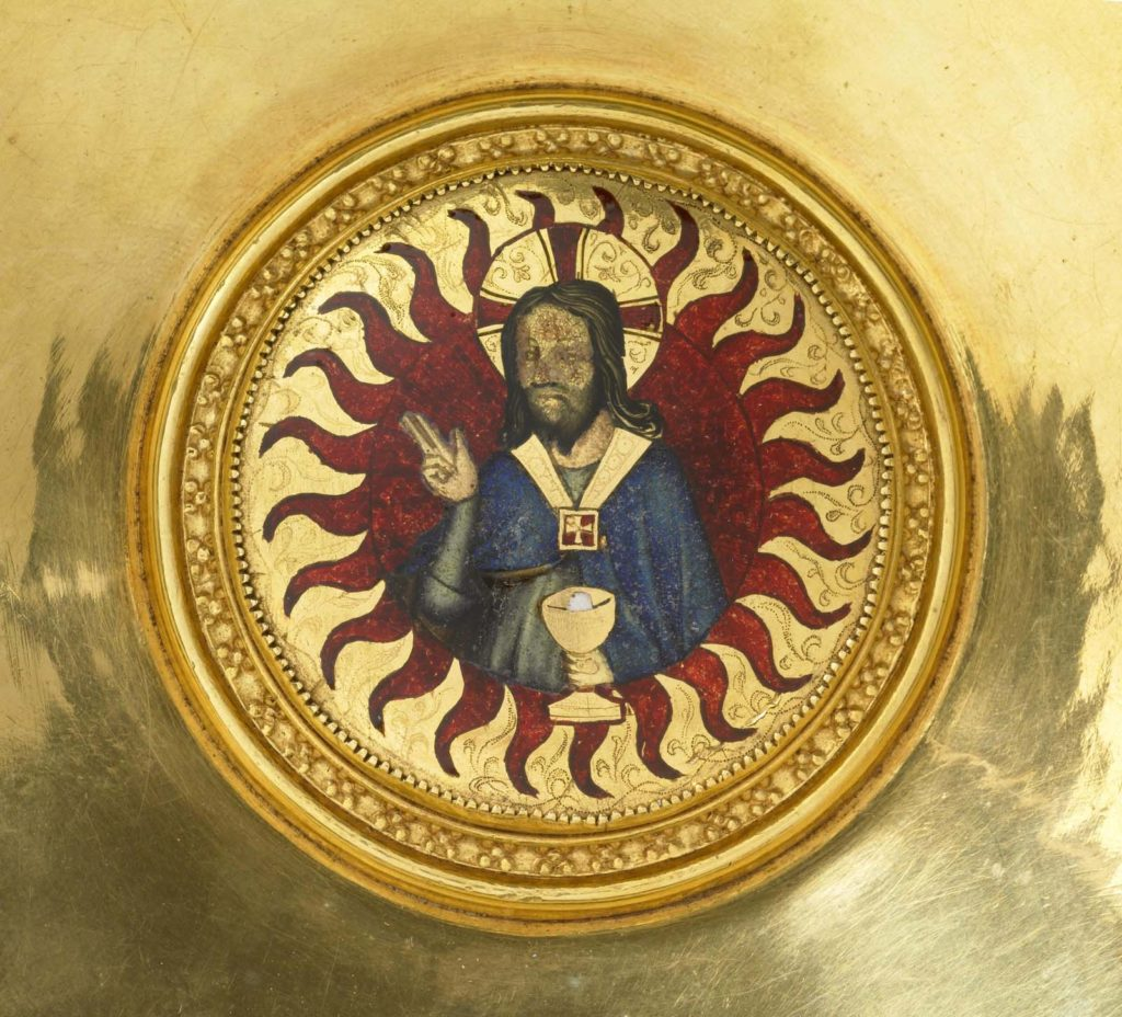 detail of a Christ figure in a roundel