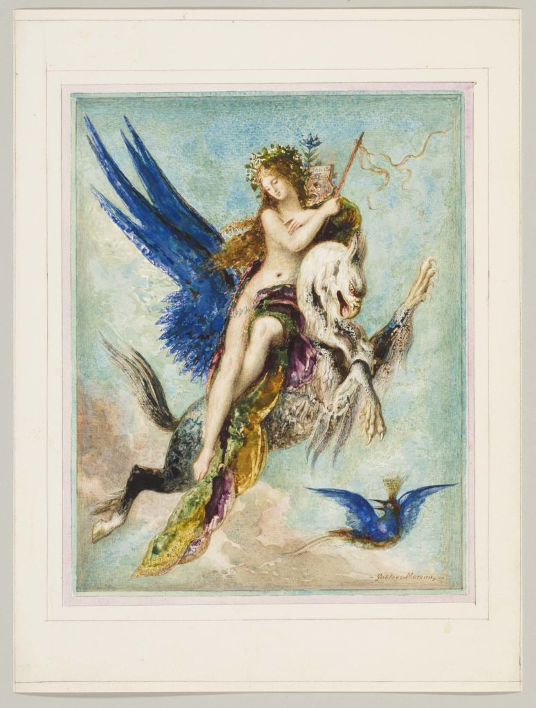 watercolour of a winged woman riding a winged serpent