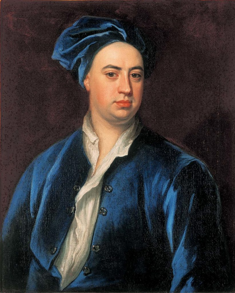 painted portrait of a man wearing a blue velvet jacket and hat