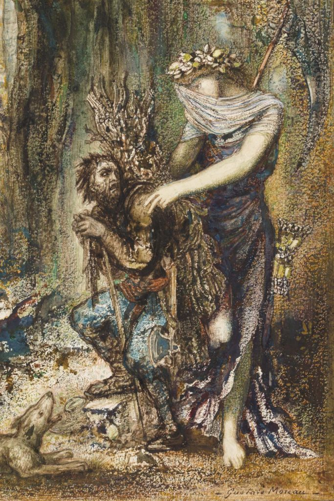 a painting of a woman and a man with a beard in a forest