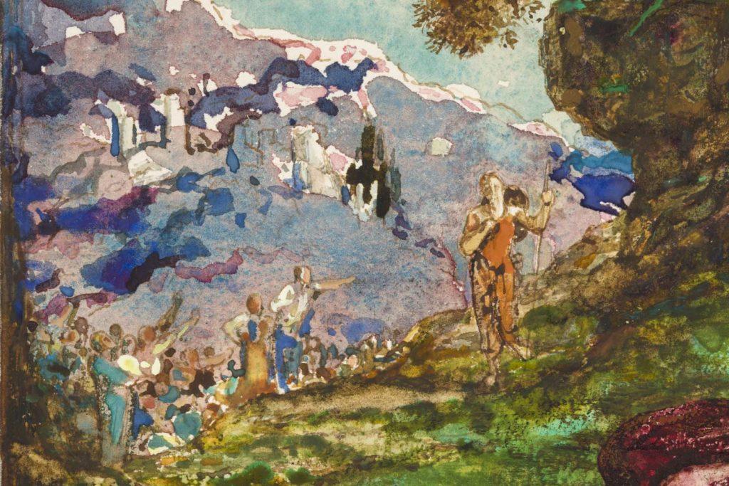 watercolur detail of people walking through an Alpine meadow