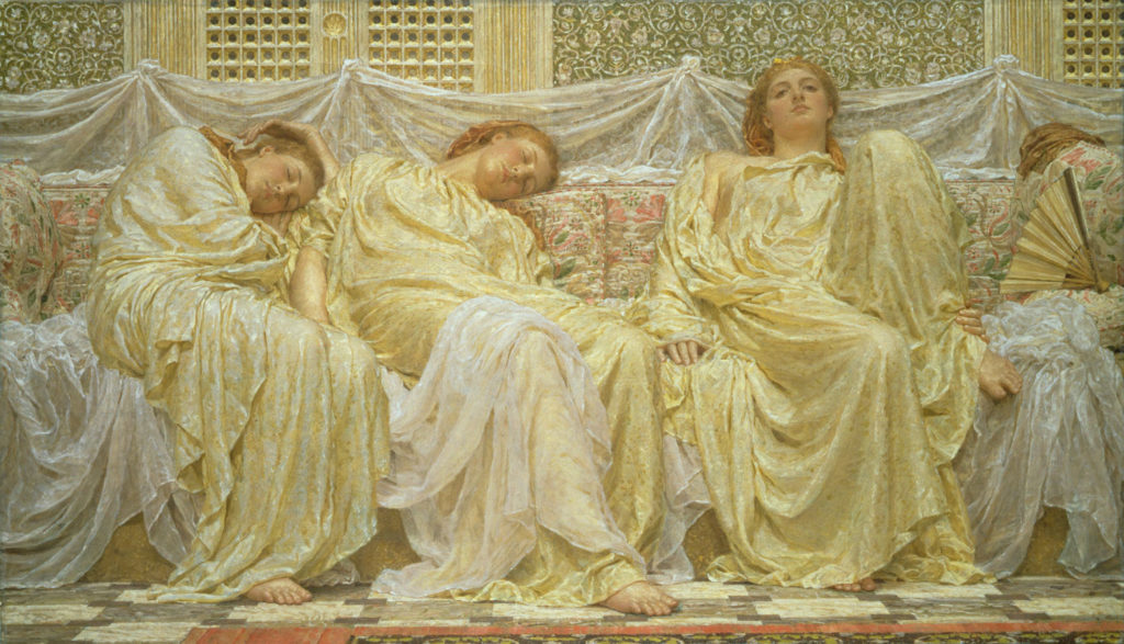 painting of three reclining figures in gold draped dresses