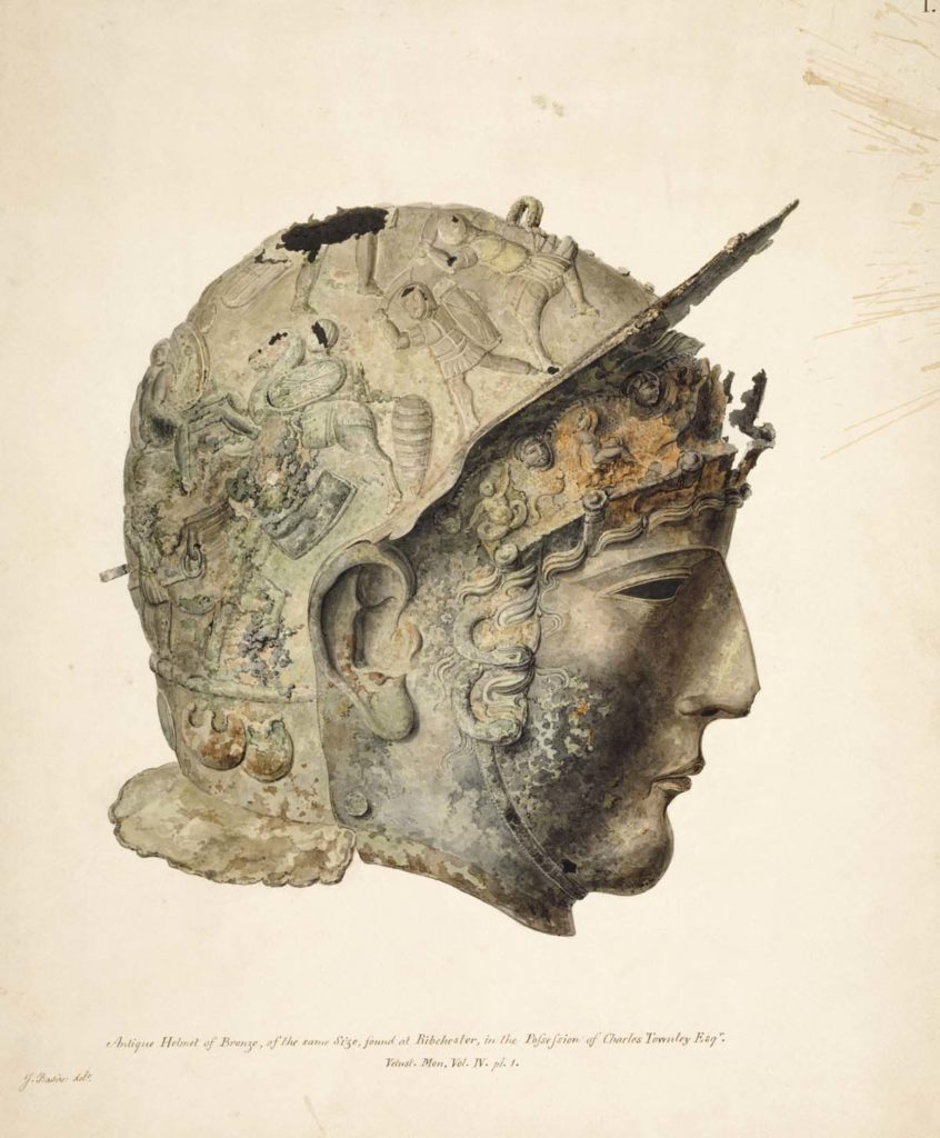 detailed sketch of a full face Roman helmet with lifelike face guard