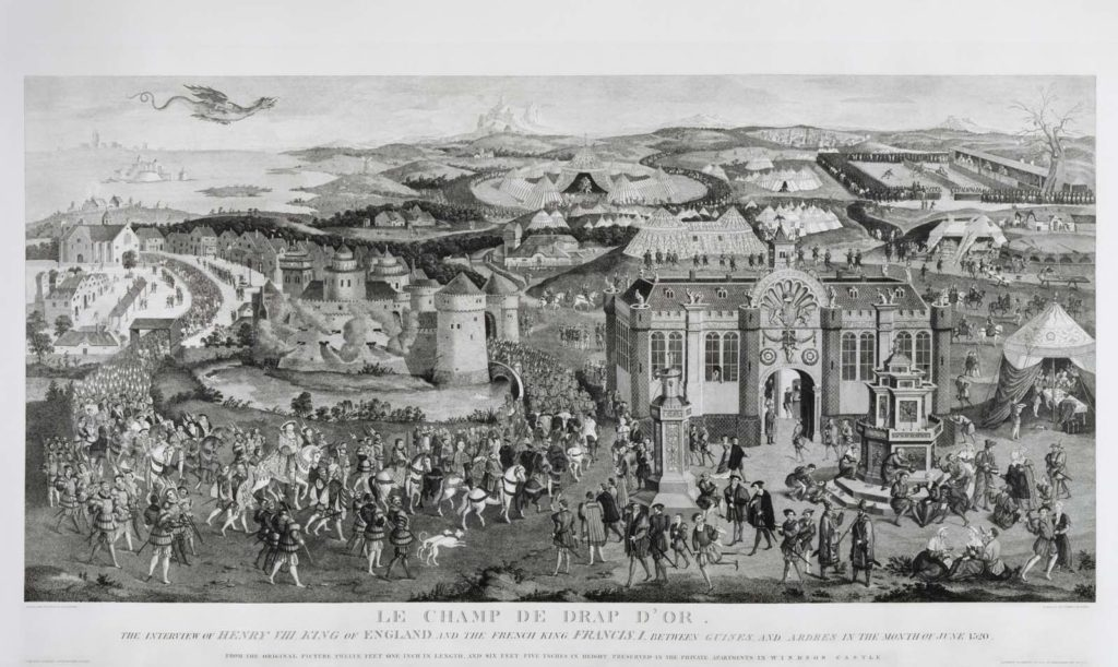 black and white print showing a long procession led by Henry VIIIthrough a town towards large tents and marquees in the distance
